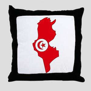 Tunisia Flag Map Throw Pillow