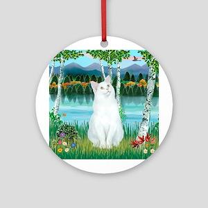 Birches / (White) Cat Ornament (Round)