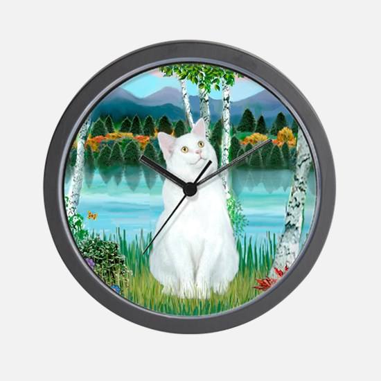 Birches / (White) Cat Wall Clock