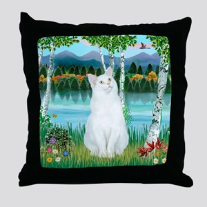 Birches / (White) Cat Throw Pillow