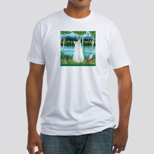 Birches / (White) Cat Fitted T-Shirt
