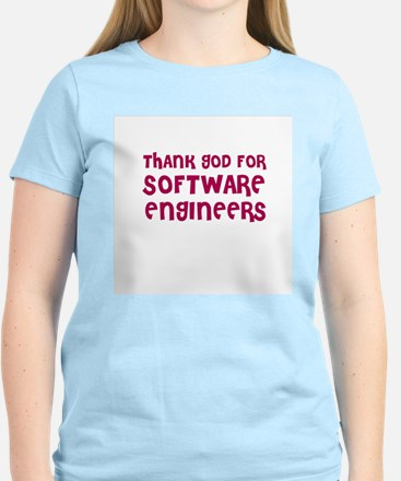 THANK GOD FOR SOFTWARE ENGINE Women's Pink T-Shirt