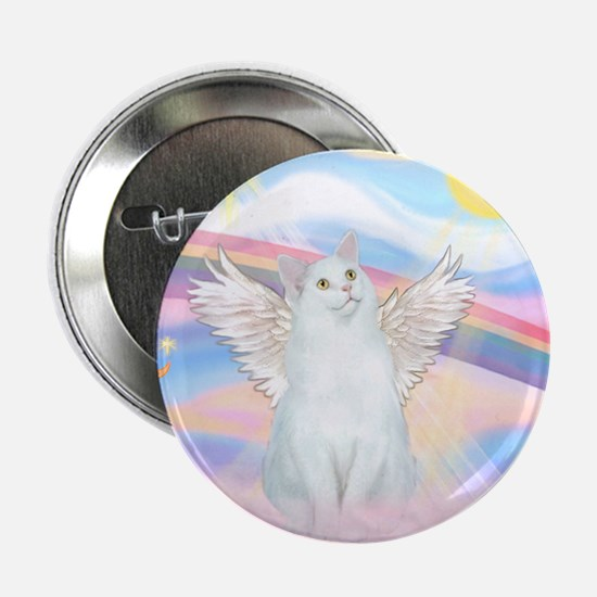 """Clouds / (White) Cat 2.25"""" Button"""