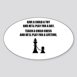 Teach a child chess - Oval Sticker