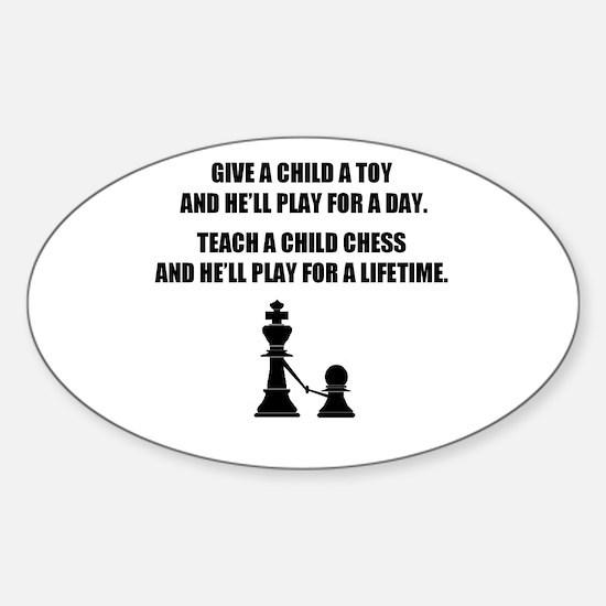 Teach a child chess - Oval Decal