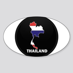 Flag Map of Thailand Oval Sticker