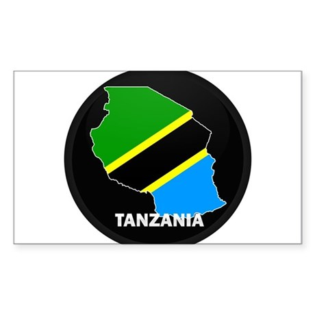 Flag Map of Tanzania Rectangle Sticker
