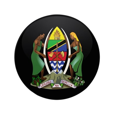 """Coat of Arms of Tanzania 3.5"""" Button"""