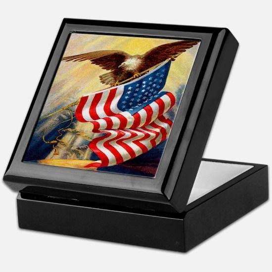 """Eagle with Flag"" Keepsake Box"