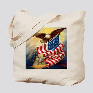 """Eagle with Flag"" Tote Bag"