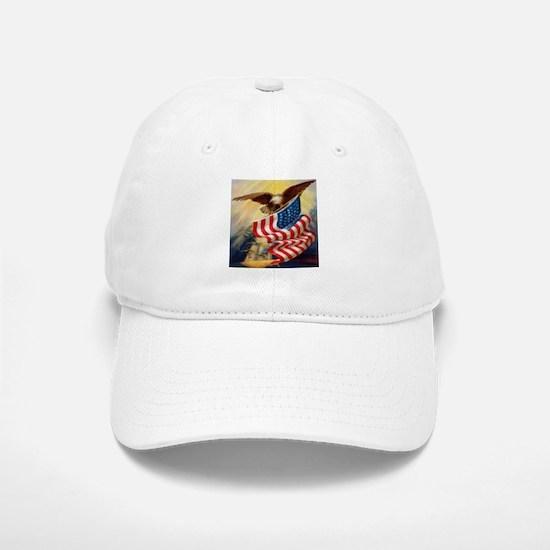 """""""Eagle with Flag"""" Baseball Baseball Cap"""