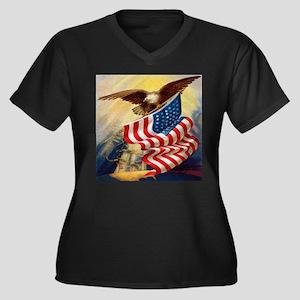 """Eagle with Flag"" Women's Plus Size V-Neck Dark T-"