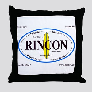 Rincon Surf Spots Throw Pillow