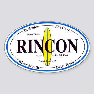 Rincon Surf Spots Oval Sticker