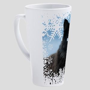 BLACK CAT & SNOWFLAKES (Blue) 17 oz Latte Mug