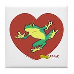 ASL Frog in Heart White Tile Coaster