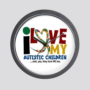 I Love My Autistic Children 2 Wall Clock