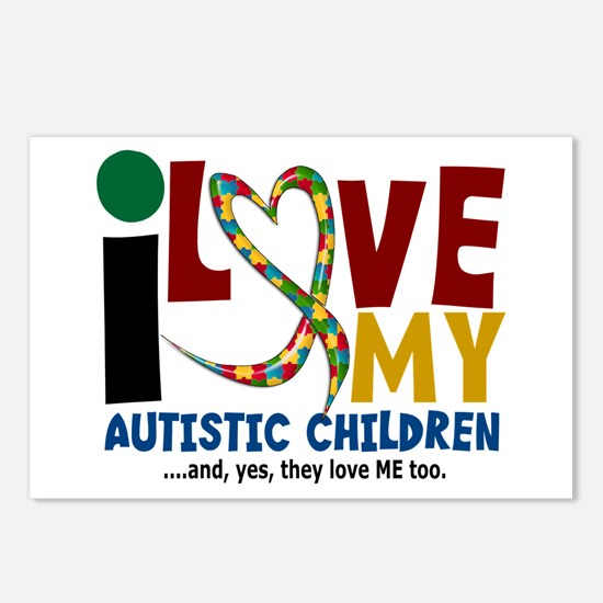 I Love My Autistic Children 2 Postcards (Package o