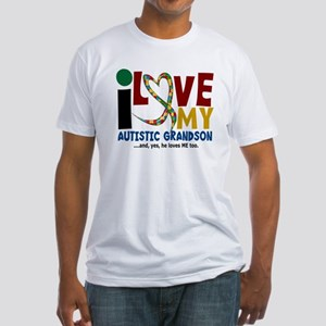 I Love My Autistic Grandson 2 Fitted T-Shirt