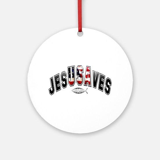 USA Jesus Ornament (Round)