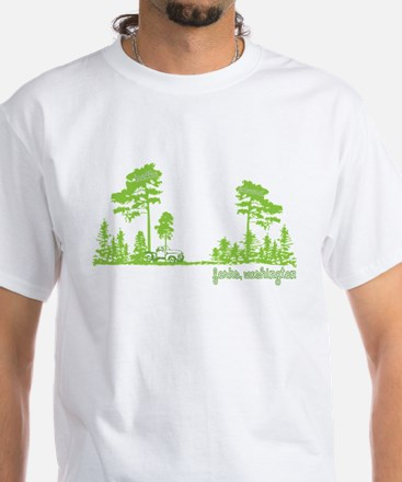 Twilight Shirt- Forks,Washington Tree Line White T