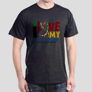 I Love My Autistic Nephews 2 Dark T-Shirt