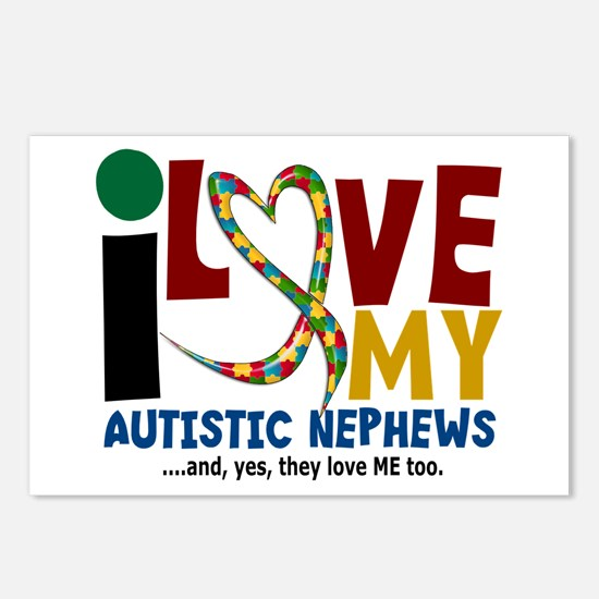 I Love My Autistic Nephews 2 Postcards (Package of
