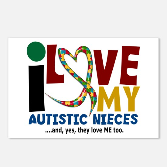 I Love My Autistic Nieces 2 Postcards (Package of