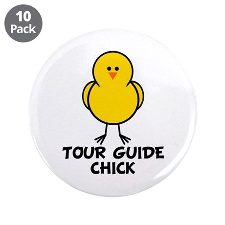 """Tour Guide Chick 3.5"""" Button (10 pack)"""