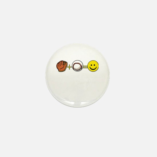 Mitt Plus Ball Equals Happy Face Mini Button