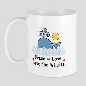 Peace Love Save The Whales Mug