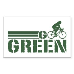 Go Green Cycling (female) Rectangle Decal