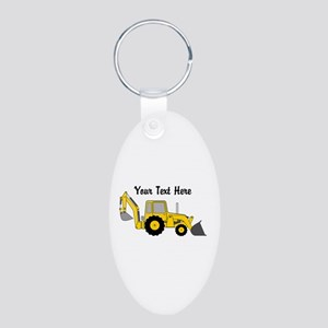Personalized Backhoe Aluminum Oval Keychain