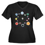 Outer Planes Women's Plus Size V-Neck Dark T-Shirt