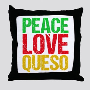 Peace Love Queso Throw Pillow