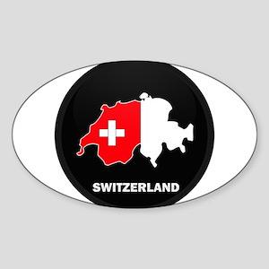 Flag Map of Switzerland Oval Sticker