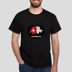 Flag Map of Switzerland Dark T-Shirt