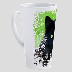 BLACK CAT & SNOWFLAKES 17 oz Latte Mug
