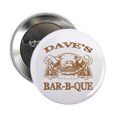 "Dave's Personalized Name Vintage BBQ 2.25"" Button"