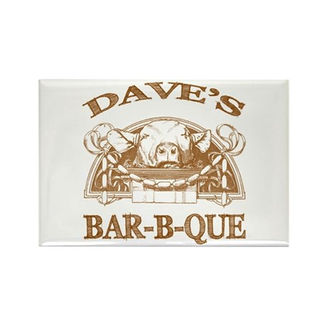 Dave's Personalized Name Vintage BBQ Rectangle Mag