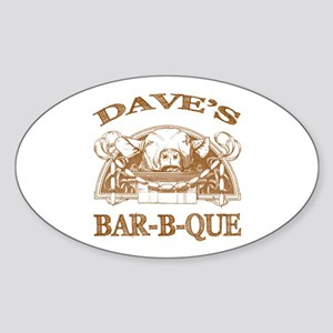 Dave's Personalized Name Vintage BBQ Sticker (Oval