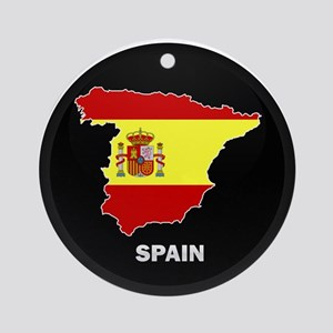 Flag Map of Spain Ornament (Round)