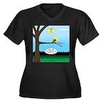Lemming Leaf Women's Plus Size V-Neck Dark T-Shirt