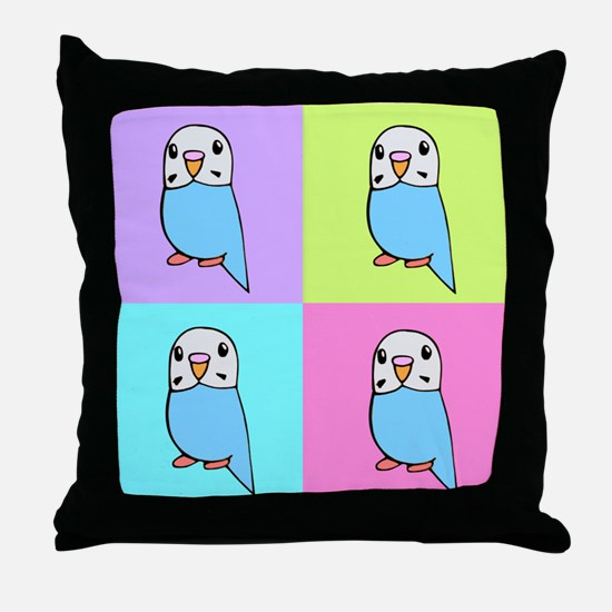 Budgie Pop Art Throw Pillow