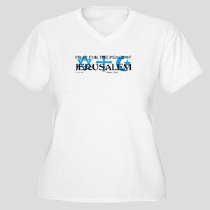 Pray for Jerusalem Women's Plus Size V-Neck T-Shir