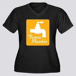 Future Plumber Women's Plus Size V-Neck Dark T-Shi