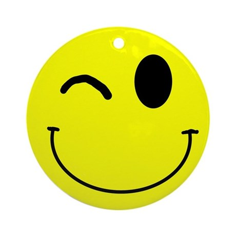 Winking Smiley Ornament (Round)