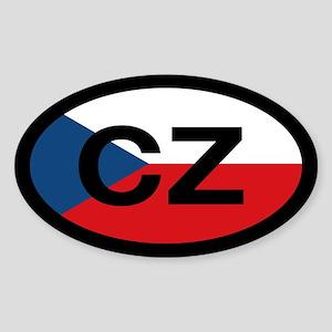CZ Flag Oval Sticker