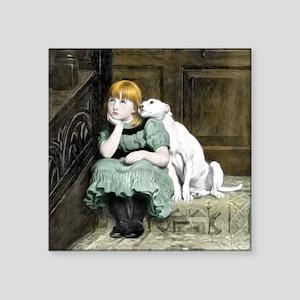 Dog Adoring Girl Art Painting Sticker