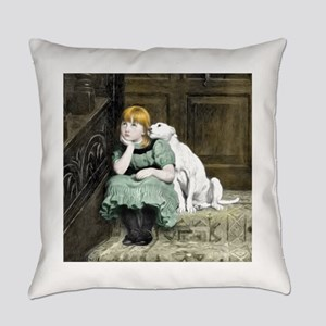 Dog Adoring Girl Art Painting Everyday Pillow